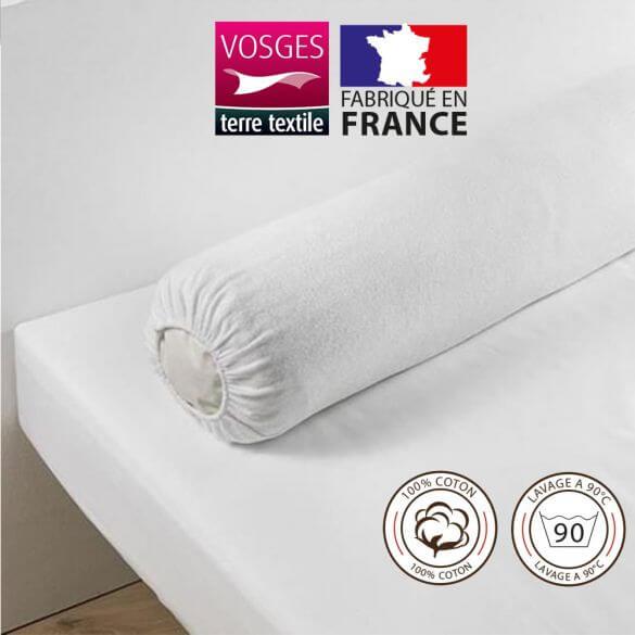 Housse protège traversin (traversin 90 cm) - 100% coton - France