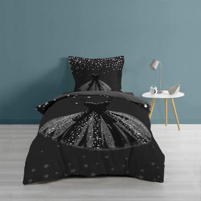 Housse de couette - 140 x 200 cm + taies - imprime 57 fils - petite robe noire