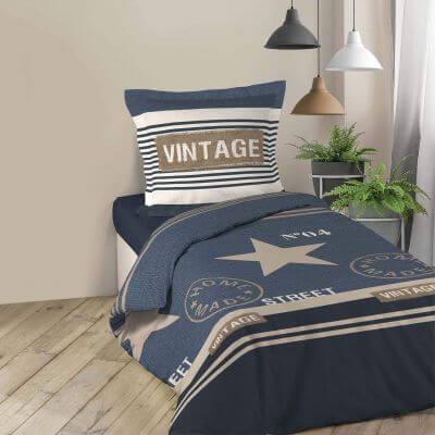 Housse de couette - 140 x 200 cm + taies - imprime 42 fils - cottage