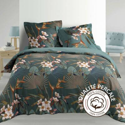 Housse de couette - 240 x 220 cm + taies - percale 78 fils - paradise