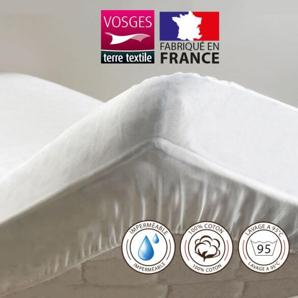 Alèse protège-matelas 90 x 190 cm imperméable 100% coton France