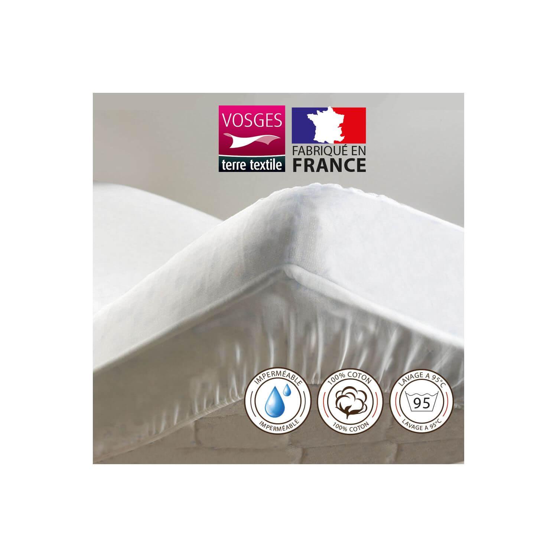 Alèse protège-matelas 100 x 190 cm imperméable 100% coton France