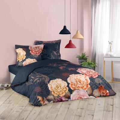 Housse de couette - 240 x 220 cm + taies  - Effet fleurie
