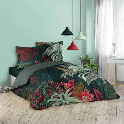 Housse de couette - 260 x 240 cm + taies  - Effet tropical