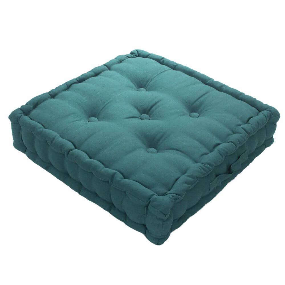Coussin de sol garni - 50 x 50 cm - 100 % coton : Couleur:Vert