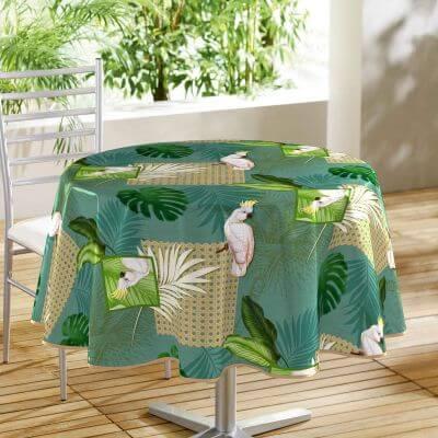 Nappe toile cirée ronde - Diamètre 160 cm - Cacatoes et feuillages tropicales
