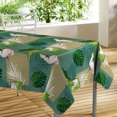 Nappe toile cirée rectangle - 140 x 240 cm - Cacatoes et feuillages tropicales