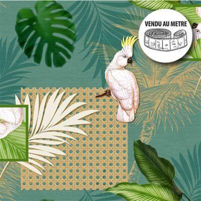 Toile cirée au mètre - Largeur 140 cm - Cacatoes et feuillages tropicales