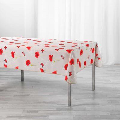 Nappe antitache rectangulaire - 150 x 240 cm - Polyester - Coquelicots
