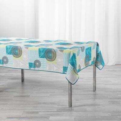 Nappe antitache rectangulaire - 150 x 240 cm - Motifs graphiques bleu