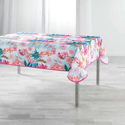 Nappe antitache rectangulaire - 150 x 240 cm - Perroquets et fleurs colorées
