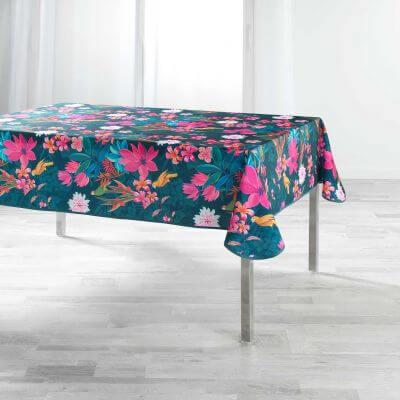 Nappe antitache rectangulaire - 150 x 240 cm - Perroquets et fleurs colorées - Bleu