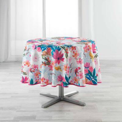 Nappe antitache ronde - Diamètre 180 cm - Perroquets et fleurs colorées - Blanc