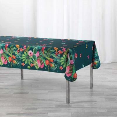 Nappe antitache rectangulaire - 150 x 200 cm -  Fleurs, perroquets & papillons - Bleu