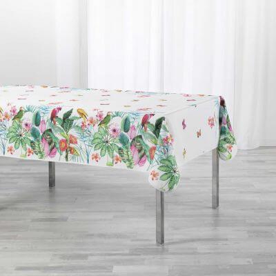 Nappe antitache rectangulaire - 150 x 200 cm -  Fleurs, perroquets & papillons - Blanc