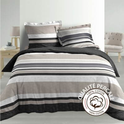 Housse de couette - 260 x 240 cm + taies - percale 78 fils - Rayures
