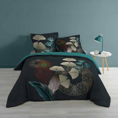 Housse de couette - 260 x 240 cm + taies - Ginko et plumes de Paon