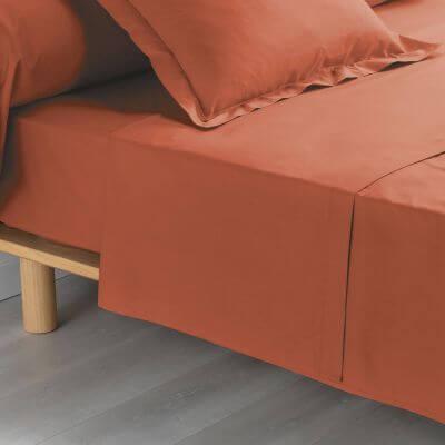 Drap plat - 180 x 290 cm - 100% coton - 57 fils - Percale - 78 fils - Uni