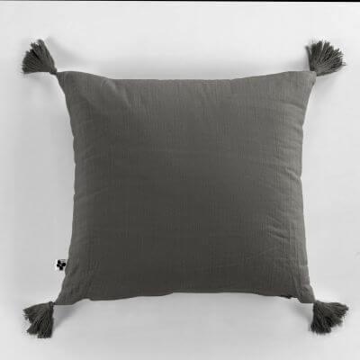 Coussin déhoussable avec pompons Gaze de coton 40 x 40 cm