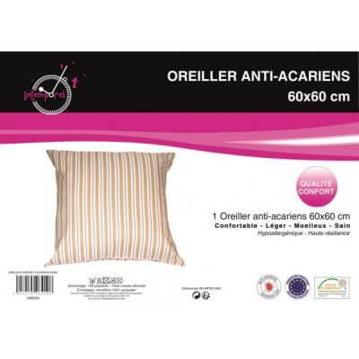 Oreiller d'antan anti-acariens - 60 x 60 cm