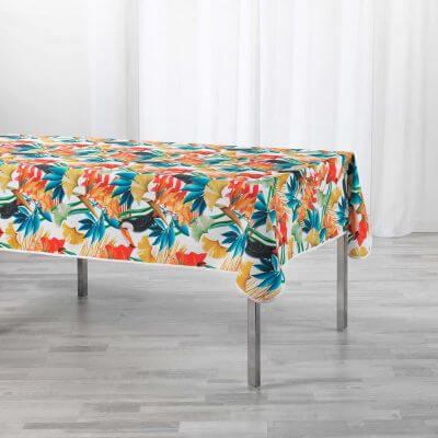 Nappe antitache rectangulaire - 150 x 240 cm -  Feuillage tropical et Toucan - Blanc