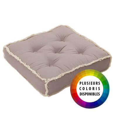 Coussin de sol à franges - 50 x 50 cm - 100 % coton
