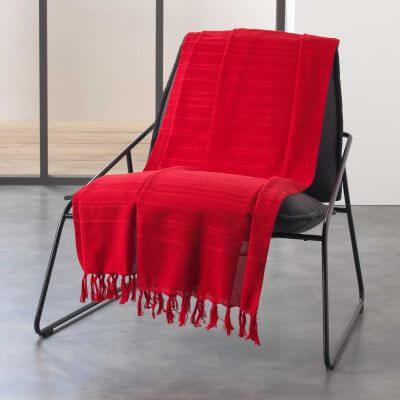 Jeté de canapé à franges - 180 x 220 cm - Coton