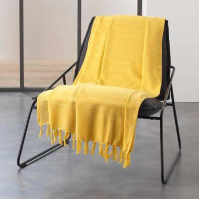 Jeté de canapé à franges - 150 x 150 cm - Coton
