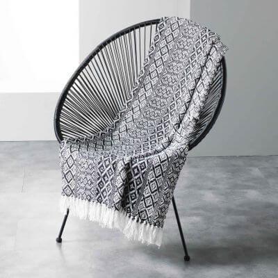 Plaid à franges - 125 x 150 cm - Coton tissé