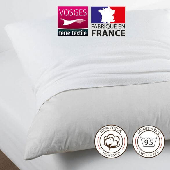 Protège taie rectangle 50 x 75 cm molleton 100% coton France