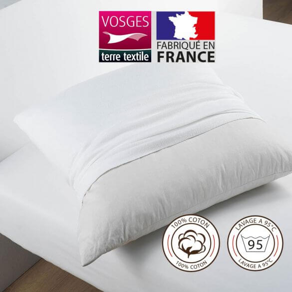 Protège taie carrée 65 x 65 cm molleton 100% coton France