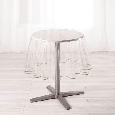 Nappe cristal ronde - Diamètre 180 cm - Biais Taupe
