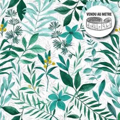 Toile cirée au mètre - Largeur 140 cm - Feuillage vert