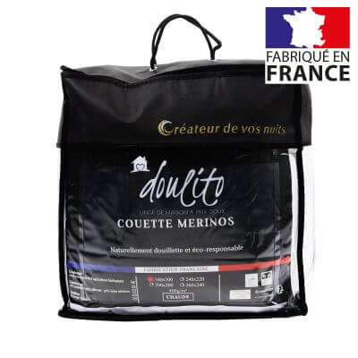Couette laine Merinos - 140 x 200 cm - 400g/m² - Made in France