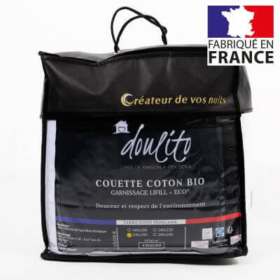 Couette hiver coton bio - 200 x 200 cm - 400g/m² - Made in France