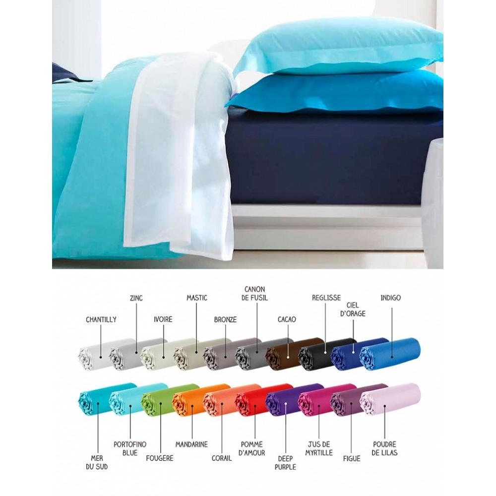 Drap plat - 180 x 290 cm - 100% coton - Différents coloris : Couleur:Indigo