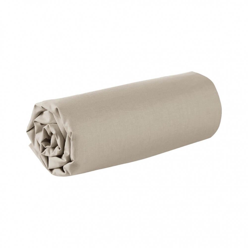 Drap housse - 180 x 200 cm - 100% coton - 57 fils - France : Couleur:Écru