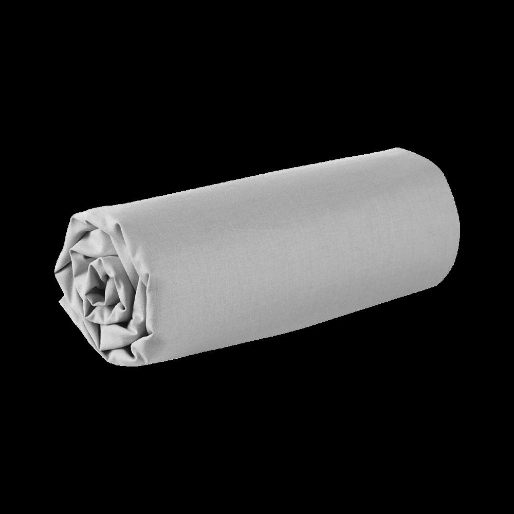 Drap housse - 180 x 200 cm - 100% coton - 57 fils - France : Couleur:Gris