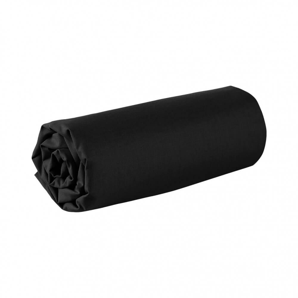 Drap housse - 180 x 200 cm - 100% coton - 57 fils - France : Couleur:Noir