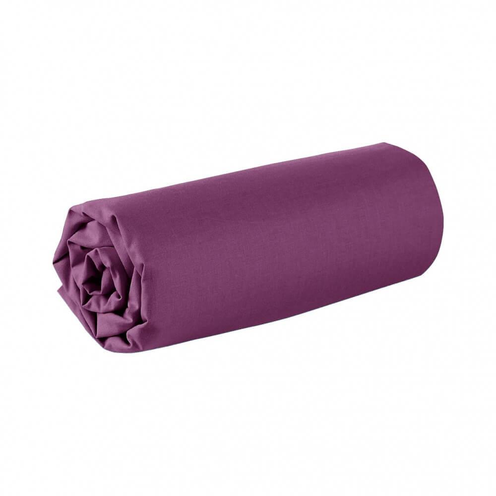 Drap housse - 180 x 200 cm - 100% coton - 57 fils - France : Couleur:Prune