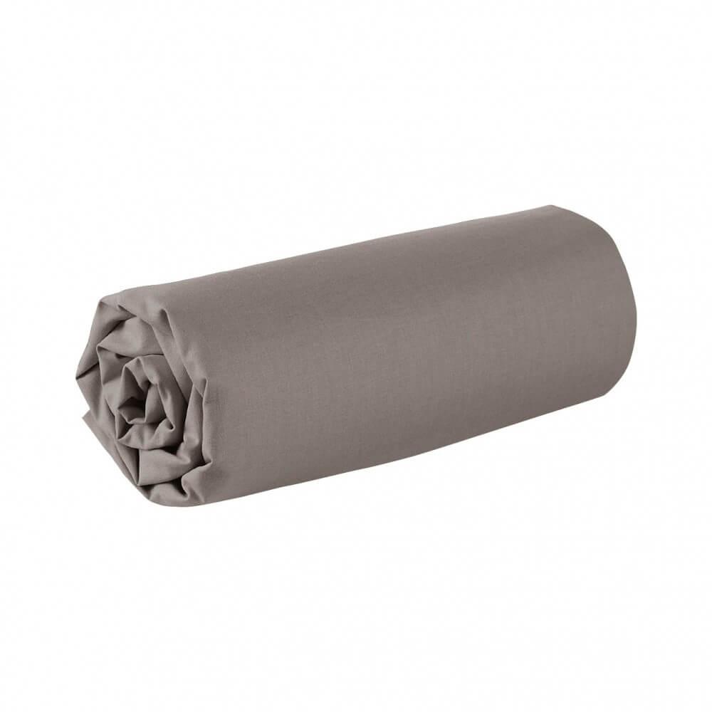 Drap housse - 180 x 200 cm - 100% coton - 57 fils - France : Couleur:Taupe