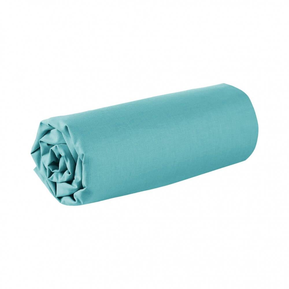 Drap housse - 180 x 200 cm - 100% coton - 57 fils - France : Couleur:Turquoise