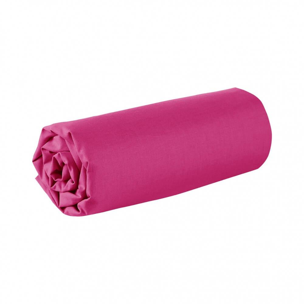 Drap housse - 90 x 200 cm - 100% coton - 57 fils - France : Couleur:Fuchsia