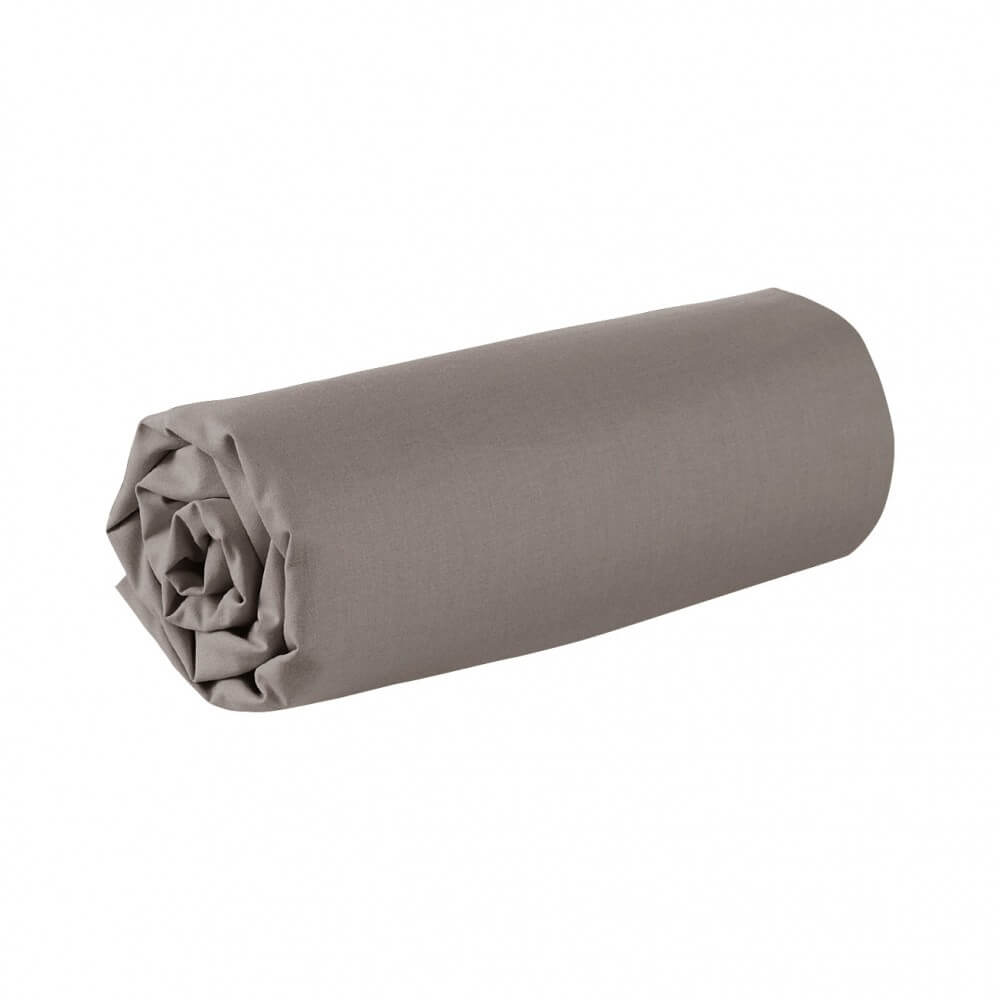 Drap housse - 90 x 200 cm - 100% coton - 57 fils - France : Couleur:Taupe
