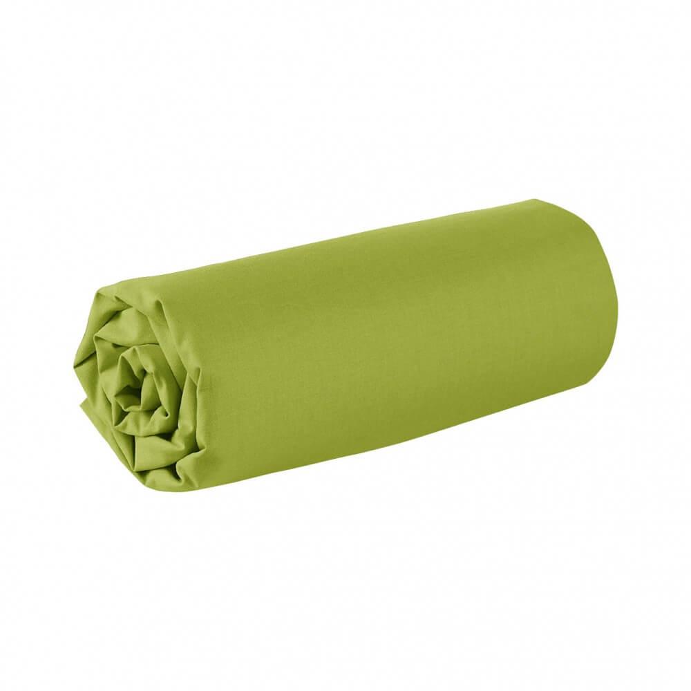 Drap housse - 90 x 200 cm - 100% coton - 57 fils - France : Couleur:Vert