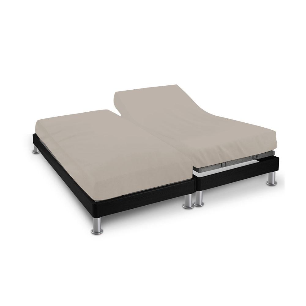 Drap house - 2 x (80 x 200 cm) - pour lit articulé : Couleur:Écru