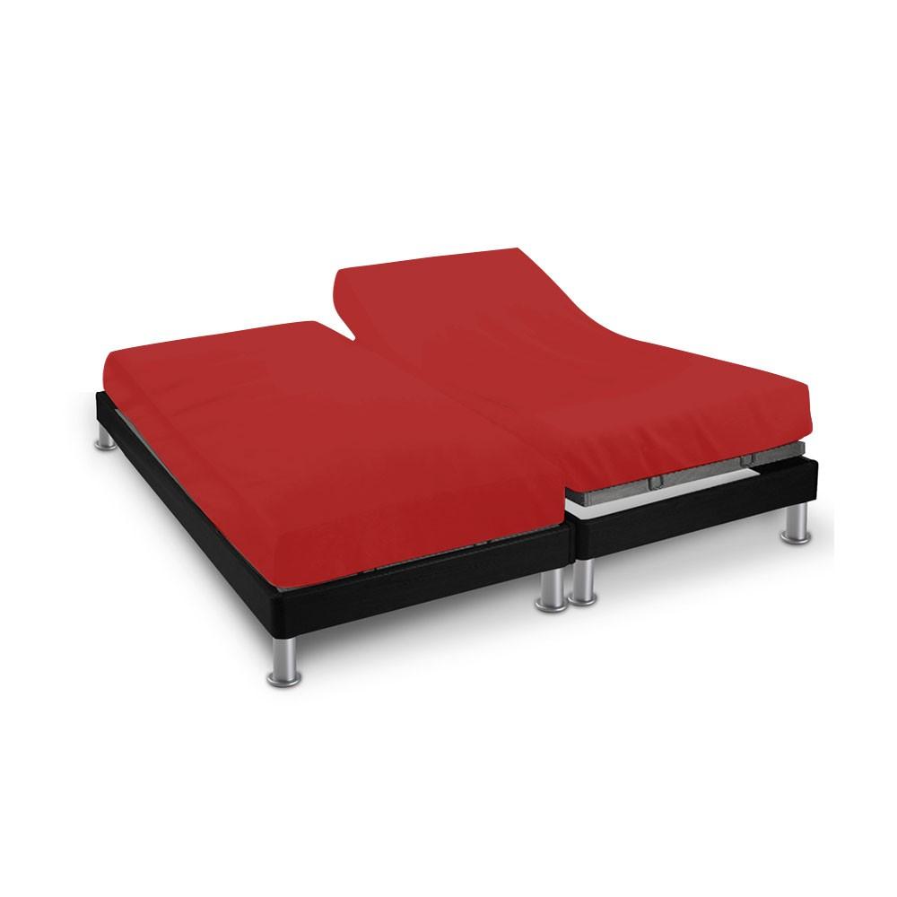 Drap house - 2 x (80 x 200 cm) - pour lit articulé : Couleur:Rouge