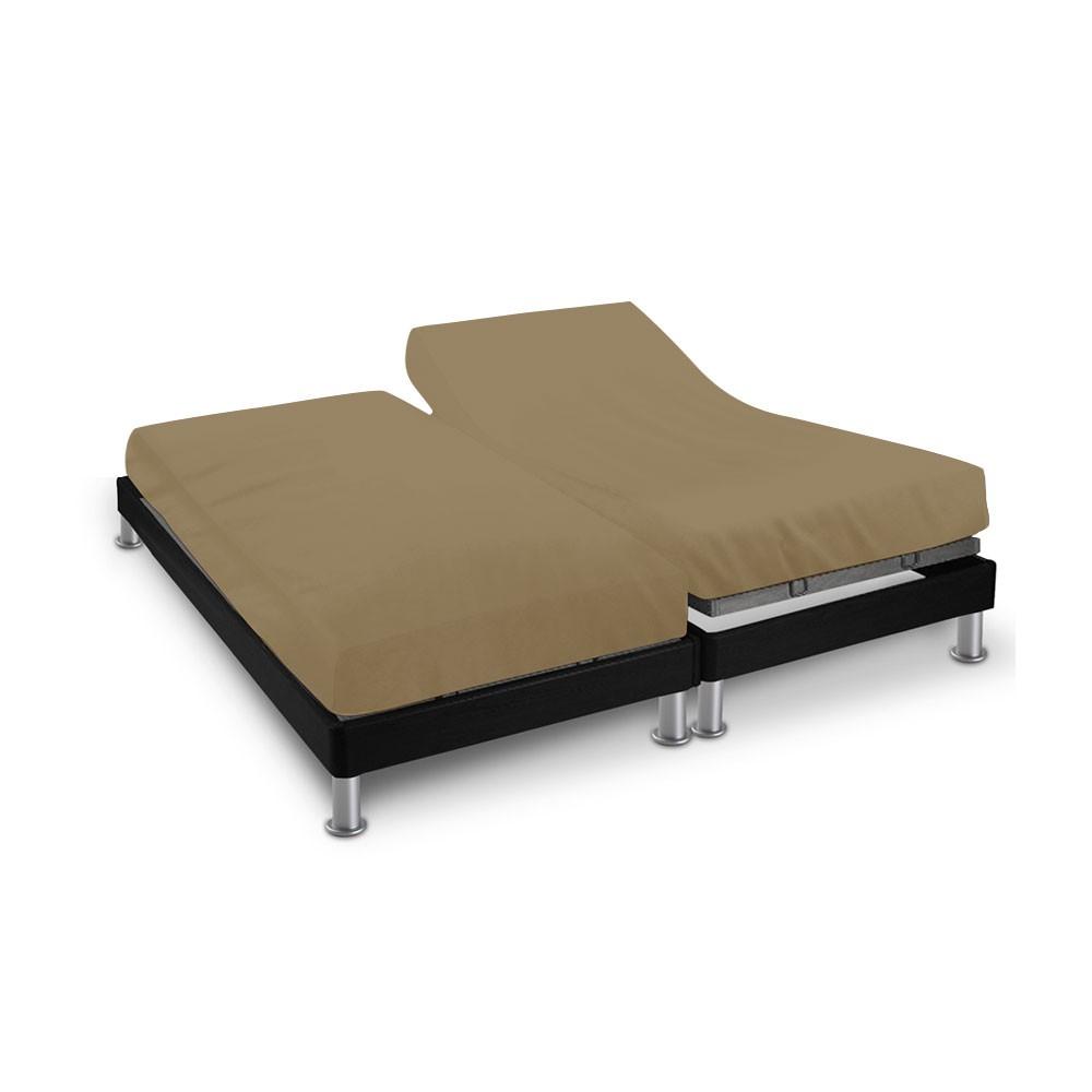 Drap house - 2 x (80 x 200 cm) - pour lit articulé : Couleur:Taupe