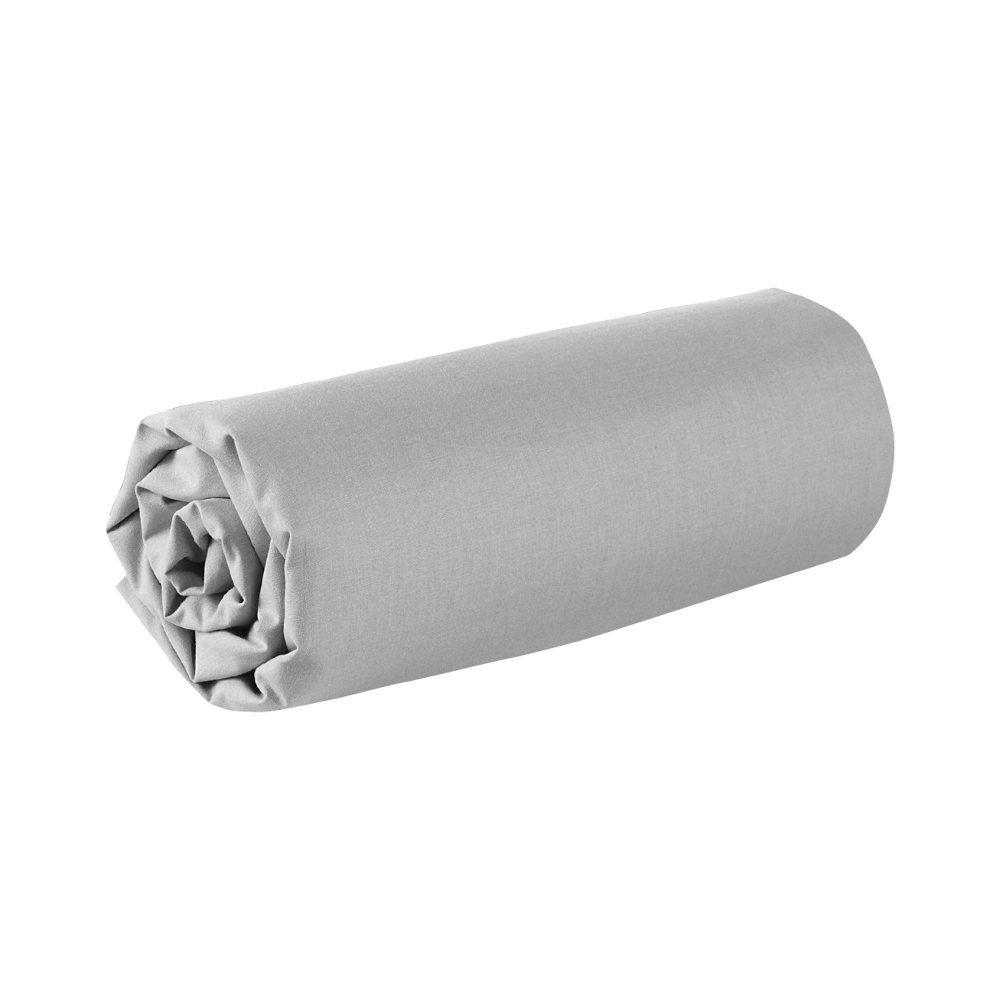 Drap housse - 150 x 190 cm - 100% coton - 57 fils - France : Couleur:Gris