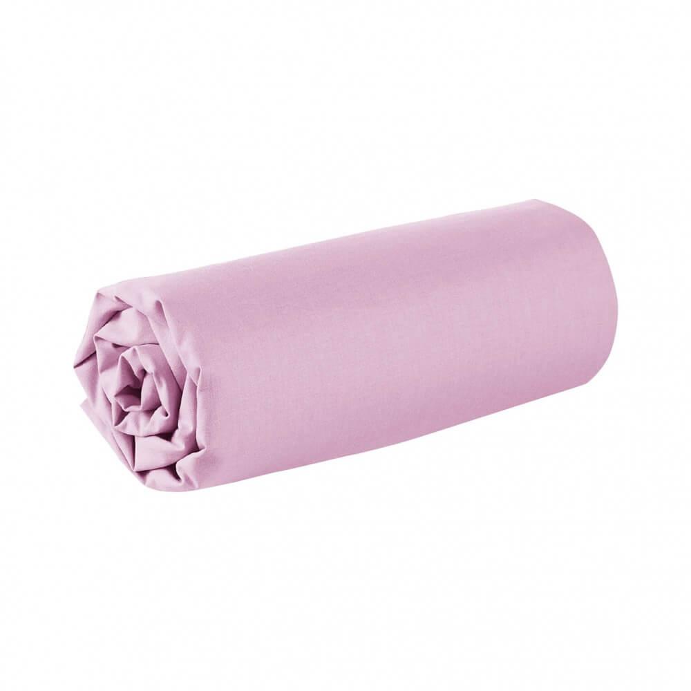 Drap housse - 150 x 190 cm - 100% coton - 57 fils - France : Couleur:Rose